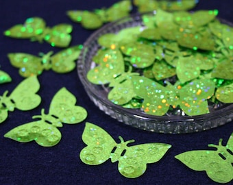 Green Glitter Butterfly Sequins