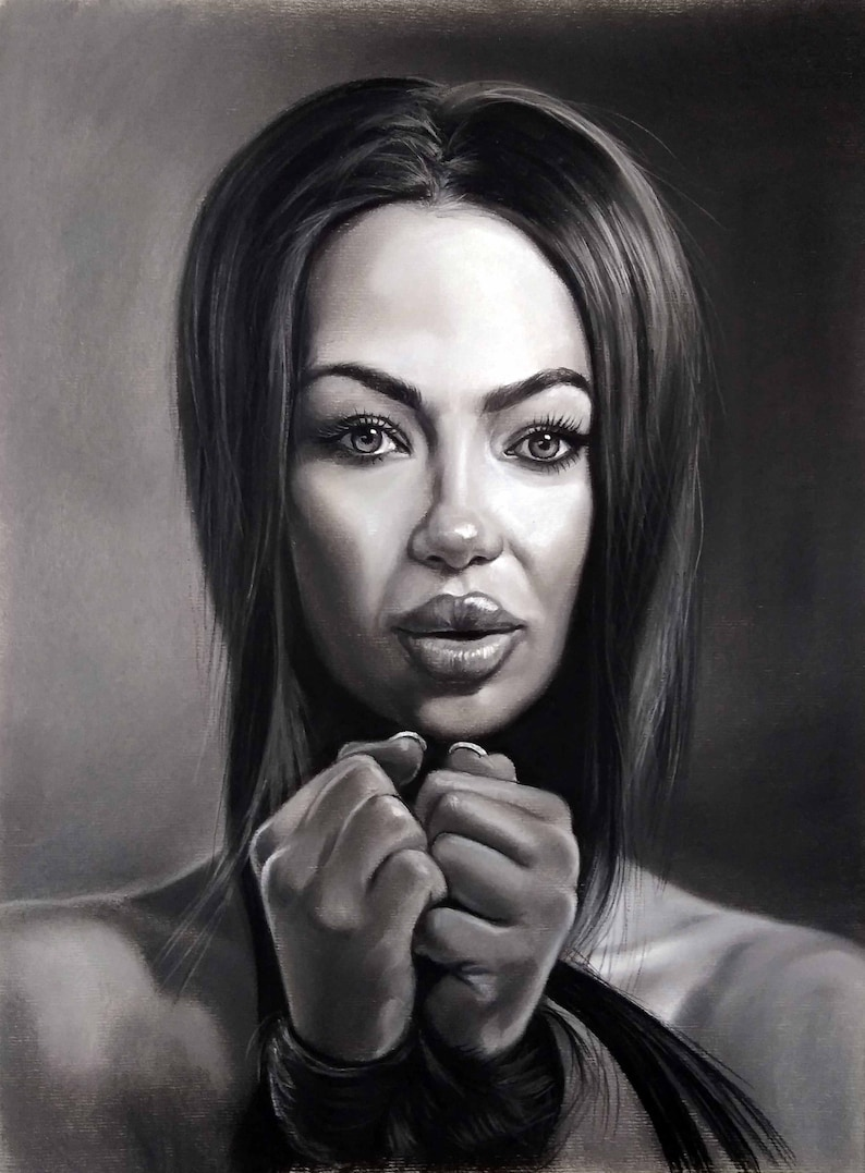 Black And White Portrait Painting