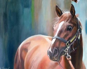 "15"" x 17"" Custom Horse painting, Oil Portrait, custom portrait, portrait from photo, original portrait, animal portrait,handmade, gift idea"
