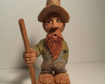 Hand Carved Wooden Caricature - Ol' Zeeb