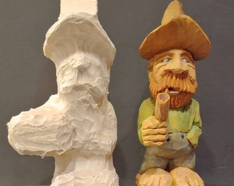 Woodcarving Roughout of Caricature -  Ol' Zeeb