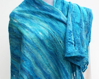 Turquoise Felt Scarf,Wet Felted Wool Scarf,Cobweb Wool Scarf,Nuno Felted Scarf,Wool Silk Scarf,Cobweb Felted Scarves,Cobweb Scarf Wrap