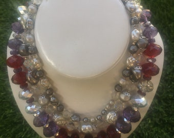 b8c47bb58d45 Two Glam Older Plastic Beaded Necklaces , Lovely colors of Silver , Red,  Purple and White, together or separate!