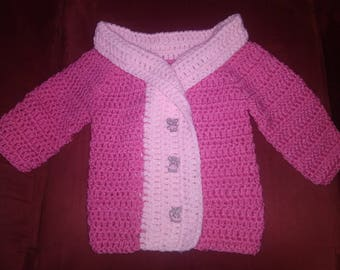 """Soft PINK """"She is Mousy"""" Crocheted Baby Sweater"""