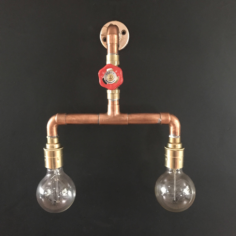 Copper pipe light industrial rustic wall brass lamp holder light e27