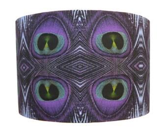 "Handmade Lampshade Peacock Feather Print Fabric Lampshade Pendant 16"""