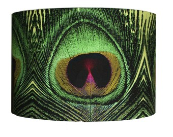 """Peacock Feather Print Fabric Green Handmade Lampshade Light Shade Ceiling 12"""""""