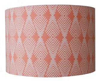 "Peach Pastel Geometric Print Fabric Handmade Lampshade Light Shade Ceiling 12"""