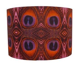 "Handmade Lampshade Peacock Feather Print Fabric Lampshade Pendant 12"""