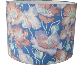 Handmade Lampshade Blue floral Flower Print Vintage Fabric Light - SALE