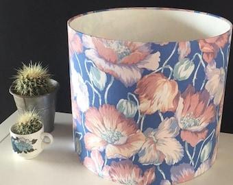 "Handmade Vintage Blue Flower Print Fabric Large Statement Flower Lampshade 16"""