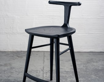 Oxbend Stool - Charcoal Ash Black Bar or Countertop Stool