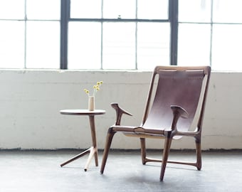 The Sling Chair - Walnut & Black or Brown Leather
