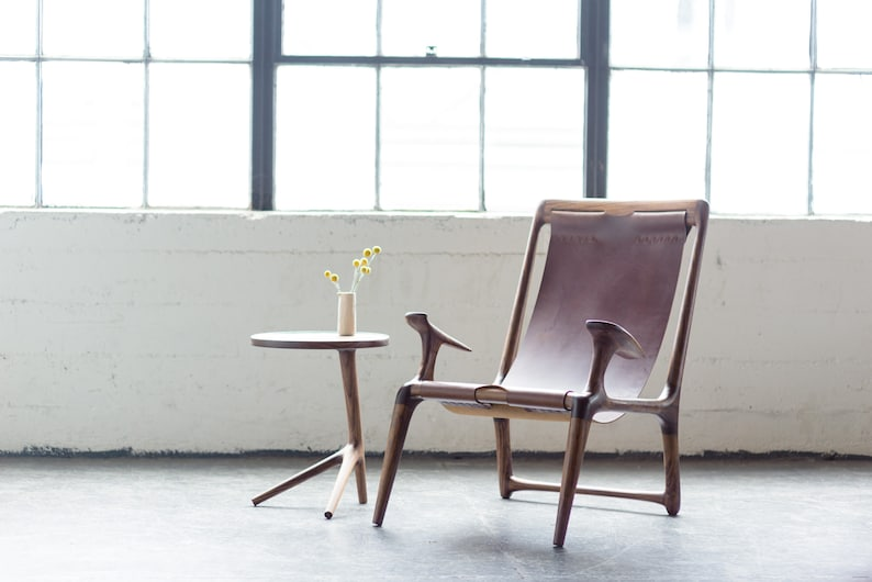 The Sling Chair  Walnut & Black or Brown Leather Brown