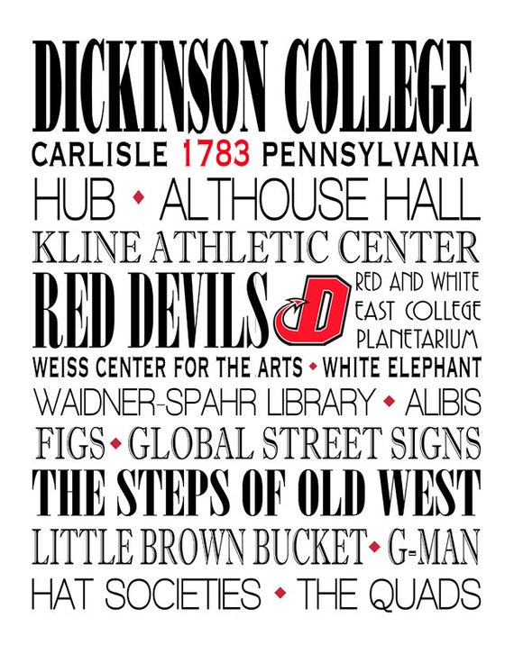 timeless design 94d14 42862 Dickinson Red Devils, Print, Subway Wall Art, Typography, Graduation  Available in other colors, sizes & colleges
