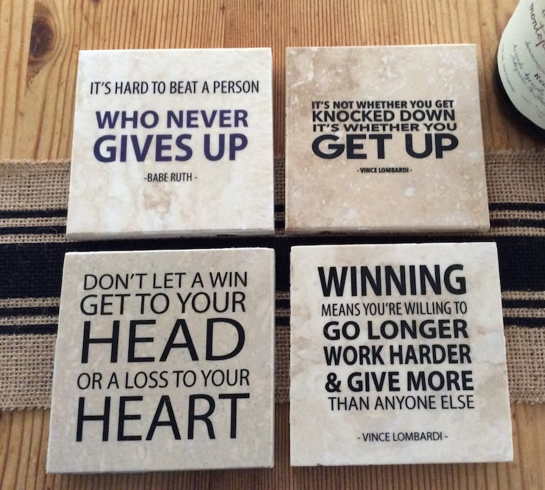 4fae71dfa4d8b Sports Quotes, Set of 4 Inspirational quotes from Babe Ruth, Vince  Lombardi, great gift idea for any football, hockey, baseball, soccer