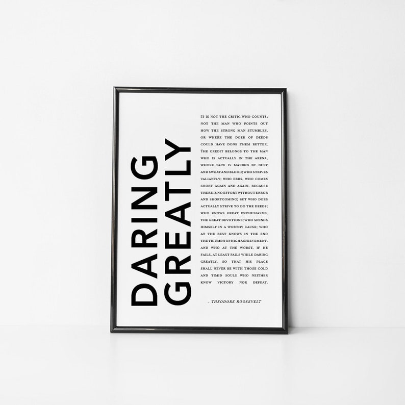Daring Greatly Quote | Daring Greatly Theodore Roosevelt Printable Quote Etsy