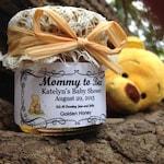 Custom Order for Marilyn ----40 1.5 oz hexagon jars w/ pure, honey, personalized label, white lace/burlap, honey dipper & raffia ribbon