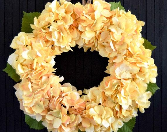 Yellow Hydrangea Front Door Wreath