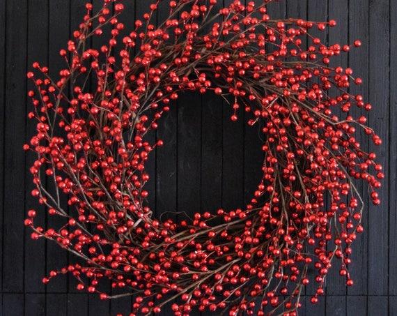 Red Glitter Berry Front Door Wreath