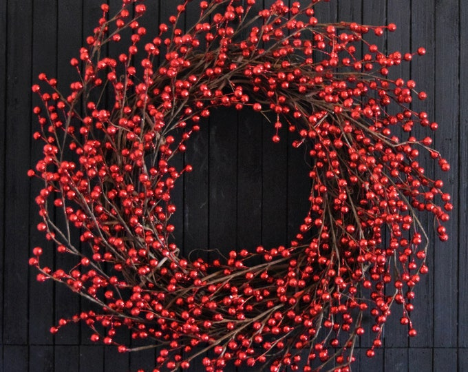 Red Glitter Berry Christmas Wreath for Front Door