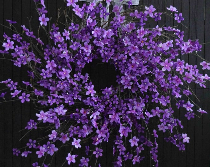"""Purple Blossom Spring and Summer Wreath - XL 28"""" Diameter - Over the Bed Fireplace Wreath"""
