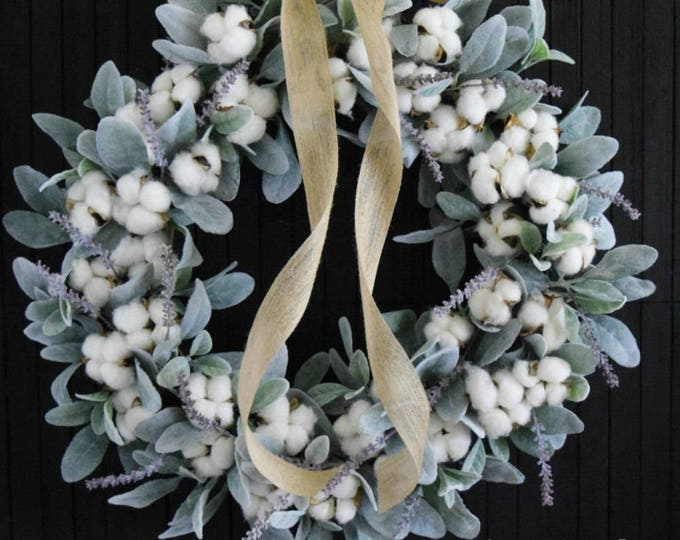 Lambs Ear and Cotton Romantic Farmhouse Front Door or Over the Bed Wreath