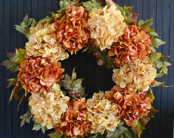 "Autumn Hydrangea Front Door Wreath - 24"" Diameter"
