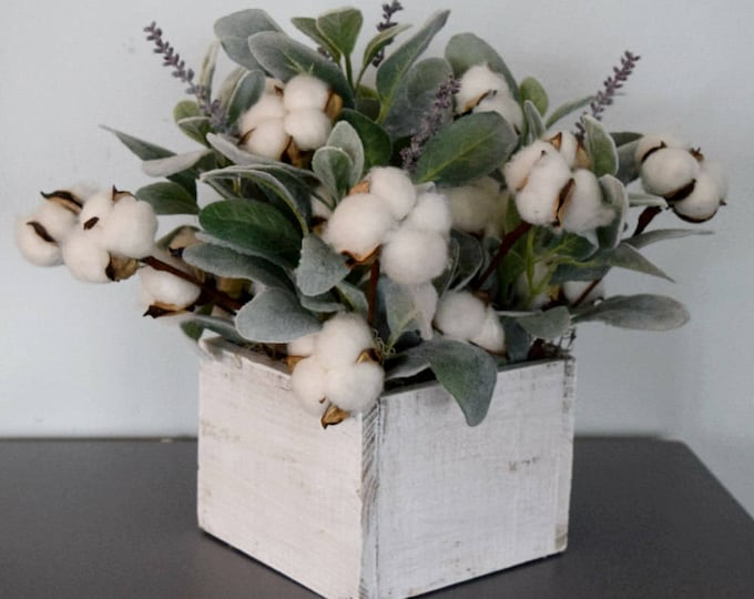 Farmhouse Cotton and Lambs Ear Arrangement in Square Wood Planter - Second Anniversary Gift Idea - Hostess Housewarming Gift