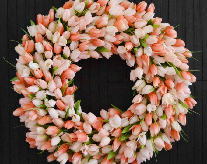 Peach Tulip Spring and Summer Front Door Wreath - Easter Decor - Mothers Day Gift