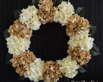 Beige and Cream Hydrangea Front Door Wreath