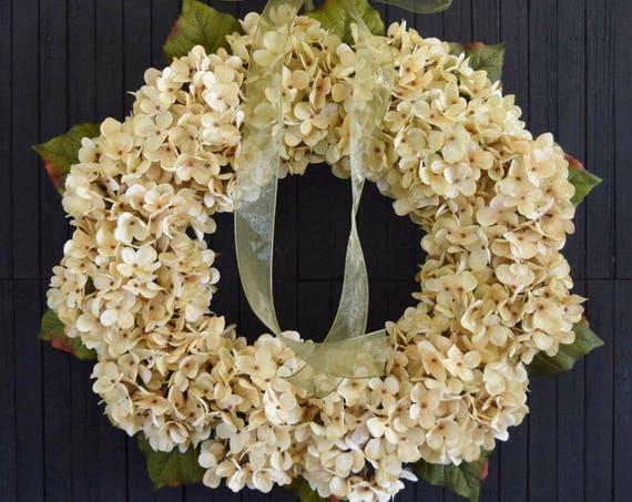 Rich Cream Hydrangea Wreath for Front Door or Wedding