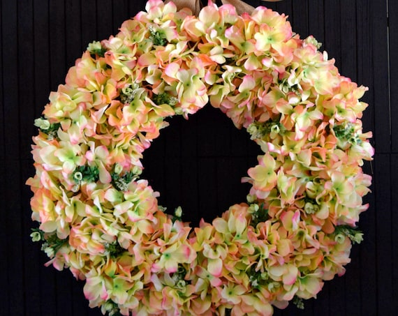 Pink and Green Spring and Summer Hydrangea Front Door Wreath