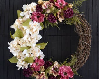 Romantic Floral Spring and Summer Front Door Wreath