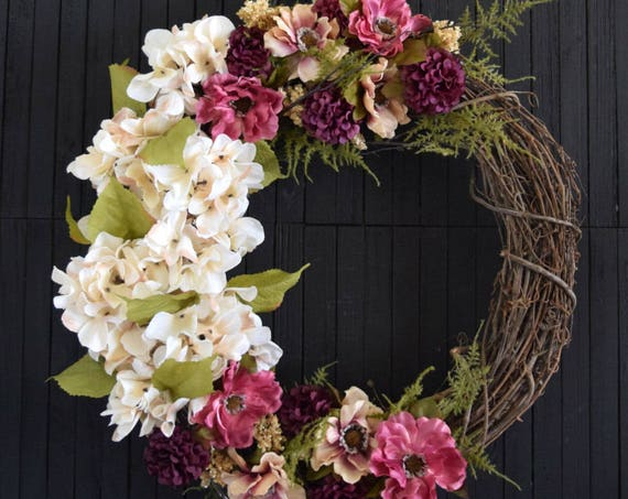 Romantic Floral Summer and Fall Front Door Wreath
