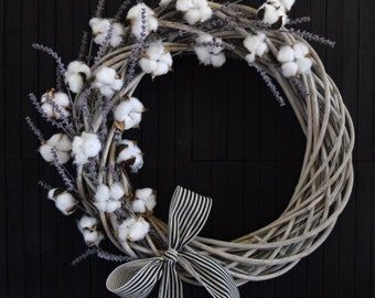 Cotton and Lavender Rustic Farmhouse Willow Wreath