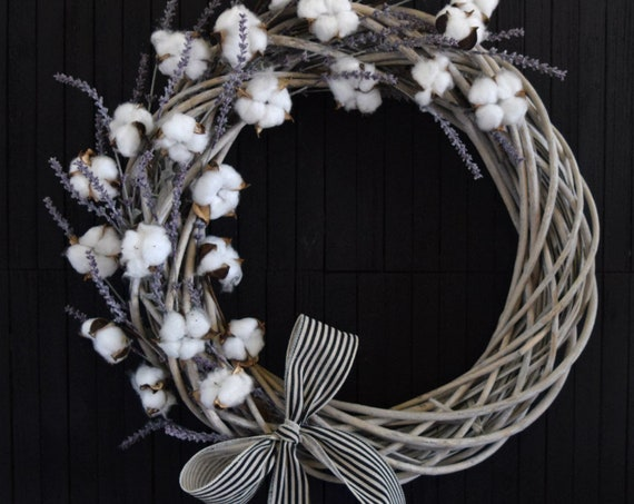 Farmhouse Cotton and Lavender Willow Wreath