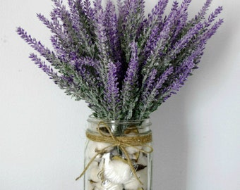 Farmhouse Lavender Arrangement in Cotton Filled Mason Jar
