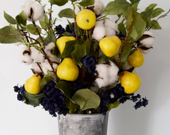 Farmhouse Style Cotton Stem and Pear Branch Floral Arrangement in Galvanized Metal Vase