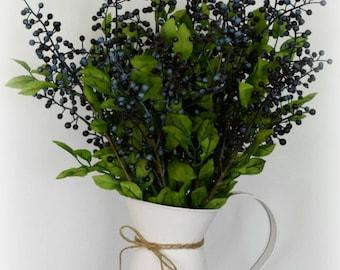 Artificial Blueberry Arrangement in White Metal Pitcher - Farmhouse Decor