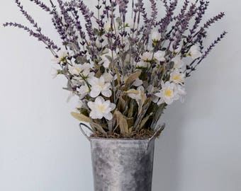 Rustic Lavender and White Freesia Arrangement