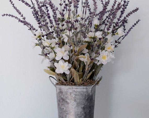 Rustic Lavender and White Freesia Arrangement