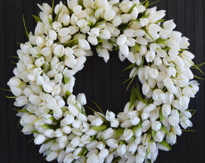 Creamy White Tulip Spring and Summer Front Door Wreath - Easter Decor - Mothers Day Gift - Wedding Wreath