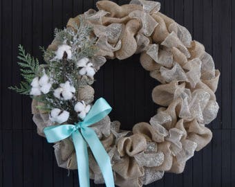 Burlap and Mesh Winter Holiday Wreath with Cotton Stems