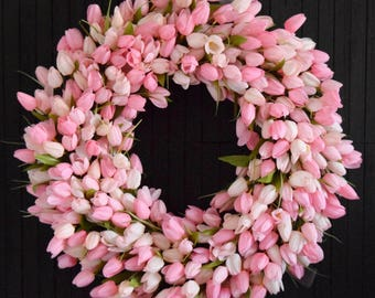 Light Pink Tulip Spring Front Door Wreath  - Valentines Day or Easter Decor