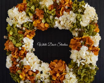 "Fall Square Hydrangea Wreath for Front Door - 26"" Diameter"