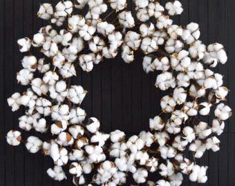 Rustic Farmhouse Cotton Wreath for Front Door or Fireplace