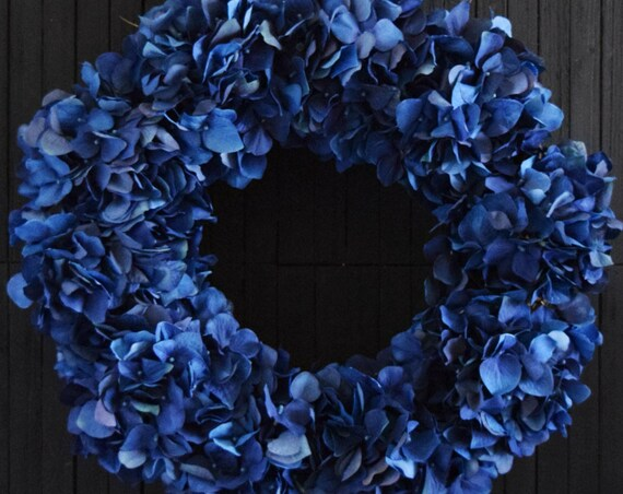 Navy Blue Hydrangea Fall and Winter Front Door Wreath