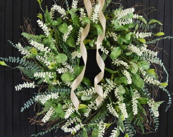 Mixed Greenery and White Berry Romantic Farmhouse Wreath