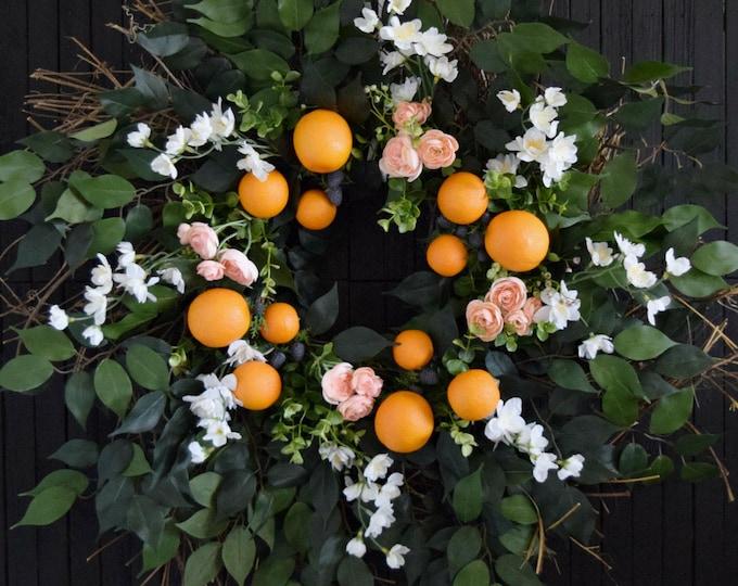 Summer Garden Wreath with Oranges and Blackberries for Front Door or Kitchen